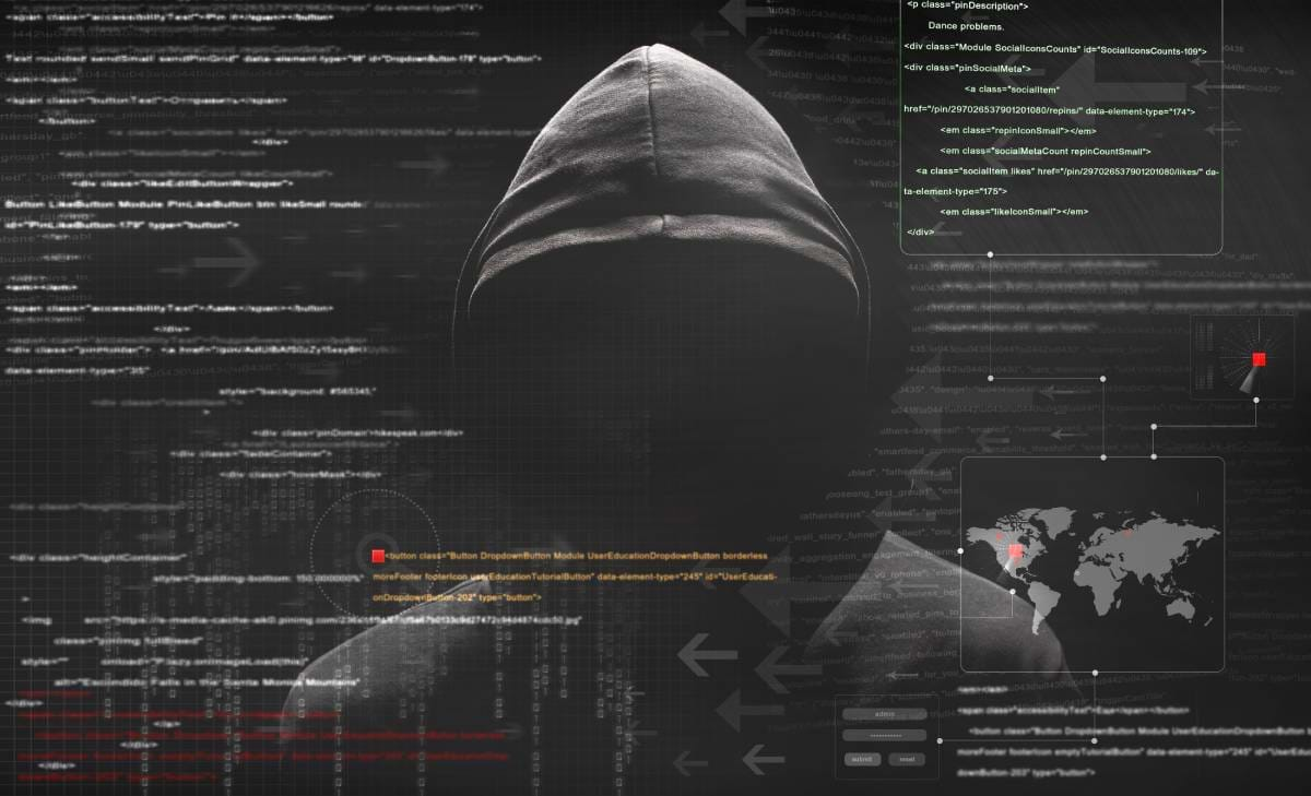 A hooded figure with computer code behind him depicting a hacker